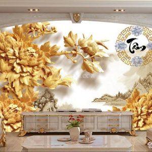 gạch 3d điêu khắc hoa