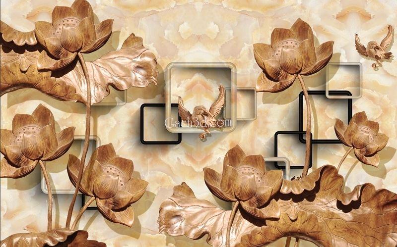gạch 3d điêu khắc hoa sen