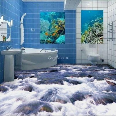 gạch 3d nhà tắm đẹp