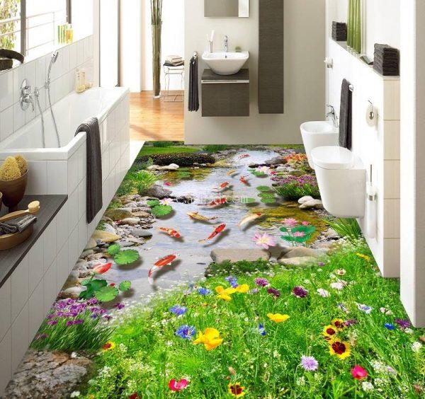 gạch 3d phòng tắm đẹp