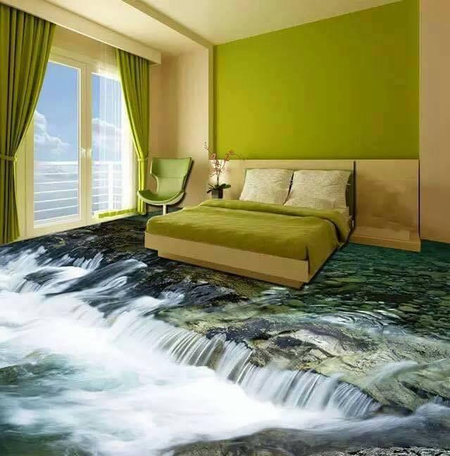 tranh gạch 3d phòng ngủ hình thác nước