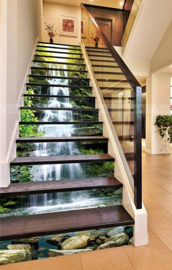 gạch 3d cầu thang thực tế đẹp