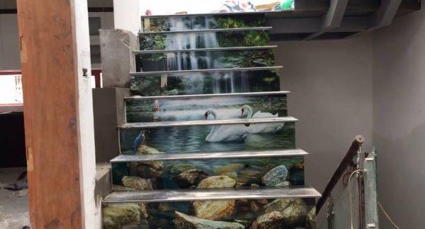 gạch 3d cầu thang thực tế