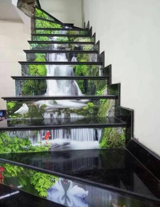 tranh gạch 3d cầu thang thực tế