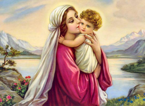 tranh gạch 3d mẹ maria