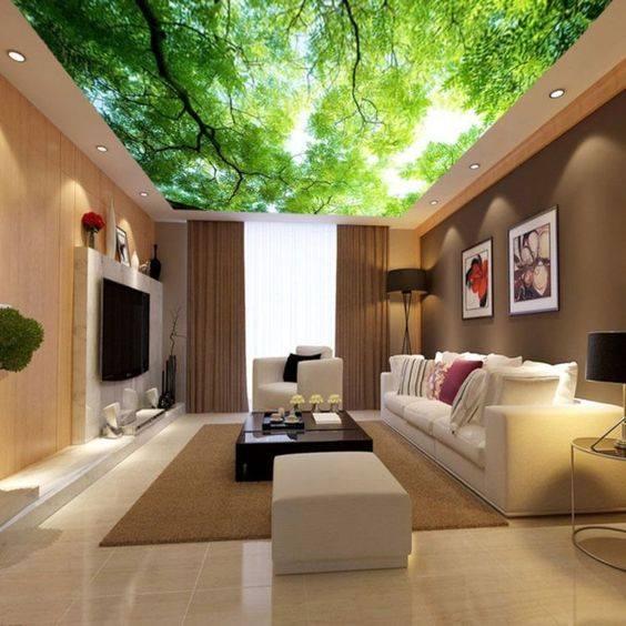 trần xuyên sáng 3d cây xanh